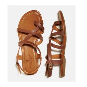 American Eagle Tan Criss Cross Gladiator Sandals